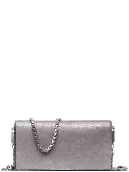 RICK OWENS DEJEUNETTE BAG IN SILVER LAMB LEATHER IS RECTANGULAR