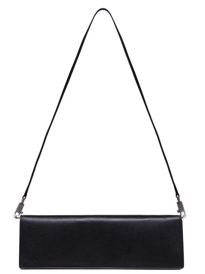 RICK OWENS BAGUETTE BAG IN BLACK CALF LEATHER IS RECTANGULAR