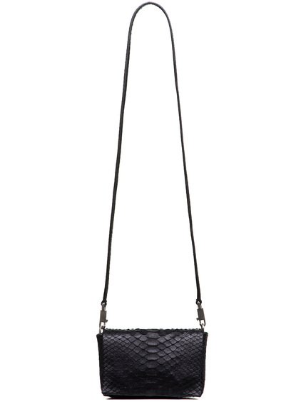 RICK OWENS MICRO FLAP ADRI BAG IN BLACK PYTHON LEATHER