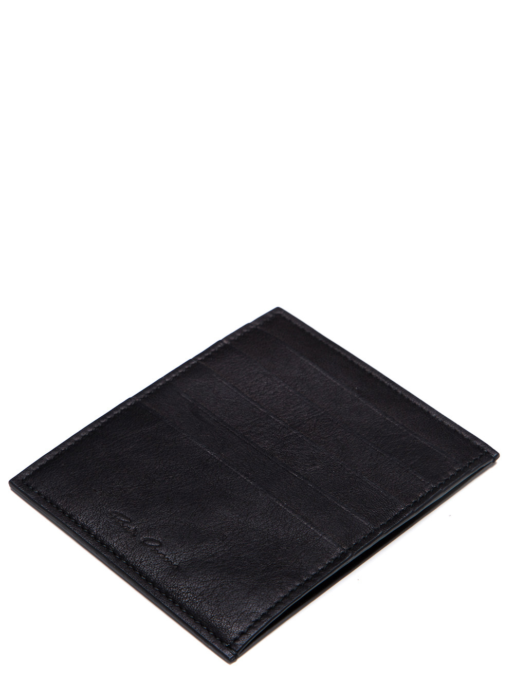RICK OWENS CREDIT CARD HOLDER IN BLACK CALF LEATHER
