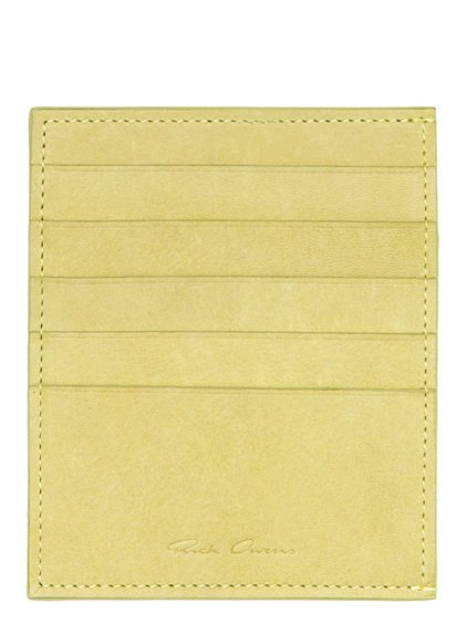 RICK OWENS CREDIT CARD HOLDER IN LIME LIGHT YELLOW