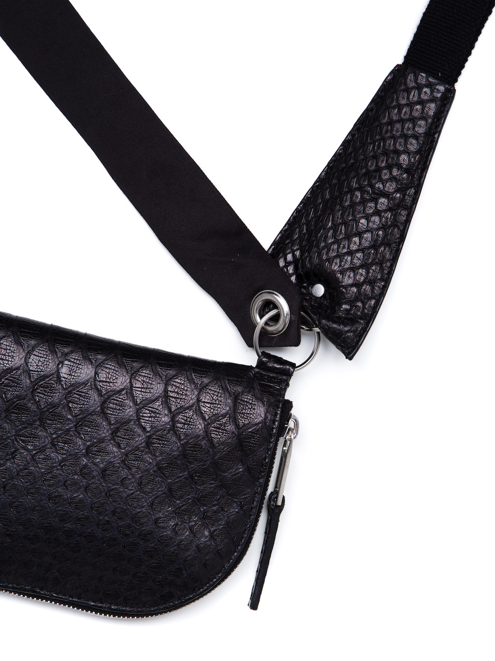 RICK OWENS NECKWALLET IN BLACK PYTHON