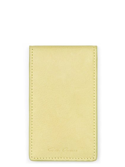 RICK OWENS BILLFOLD CREDIT CARD HOLDER IN LIME LIGHT YELLOW