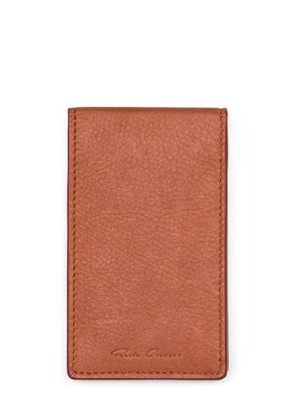 RICK OWENS BILLFOLD CREDIT CARD HOLDER IN CINNAMON ORANGE