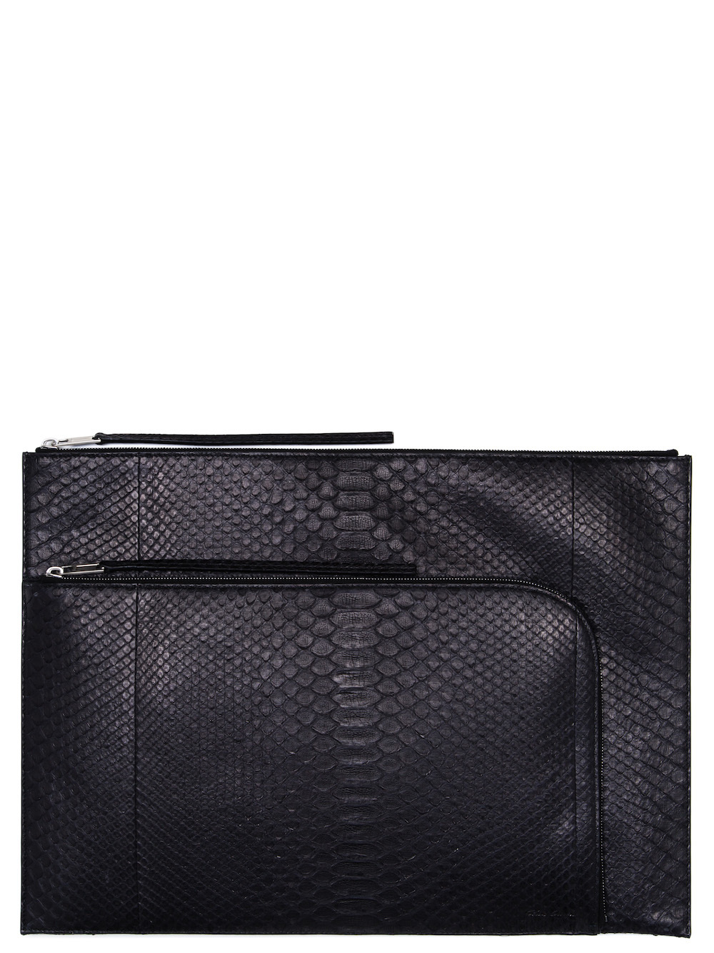 RICK OWENS ZIPPED COMPUTER POUCH IN BLACK PYTHON