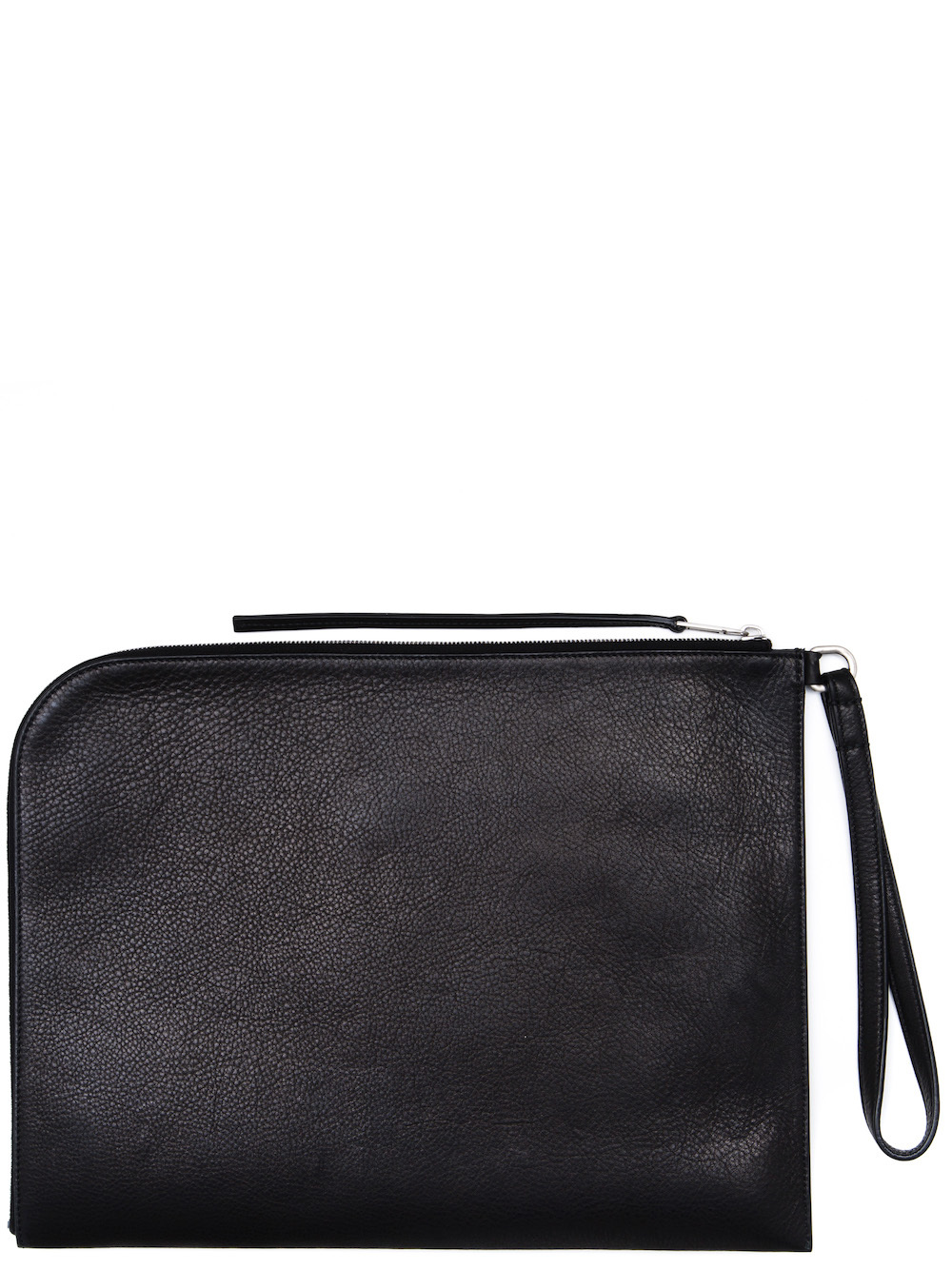 RICK OWENS LARGE ZIPPED POUCH IN BLACK