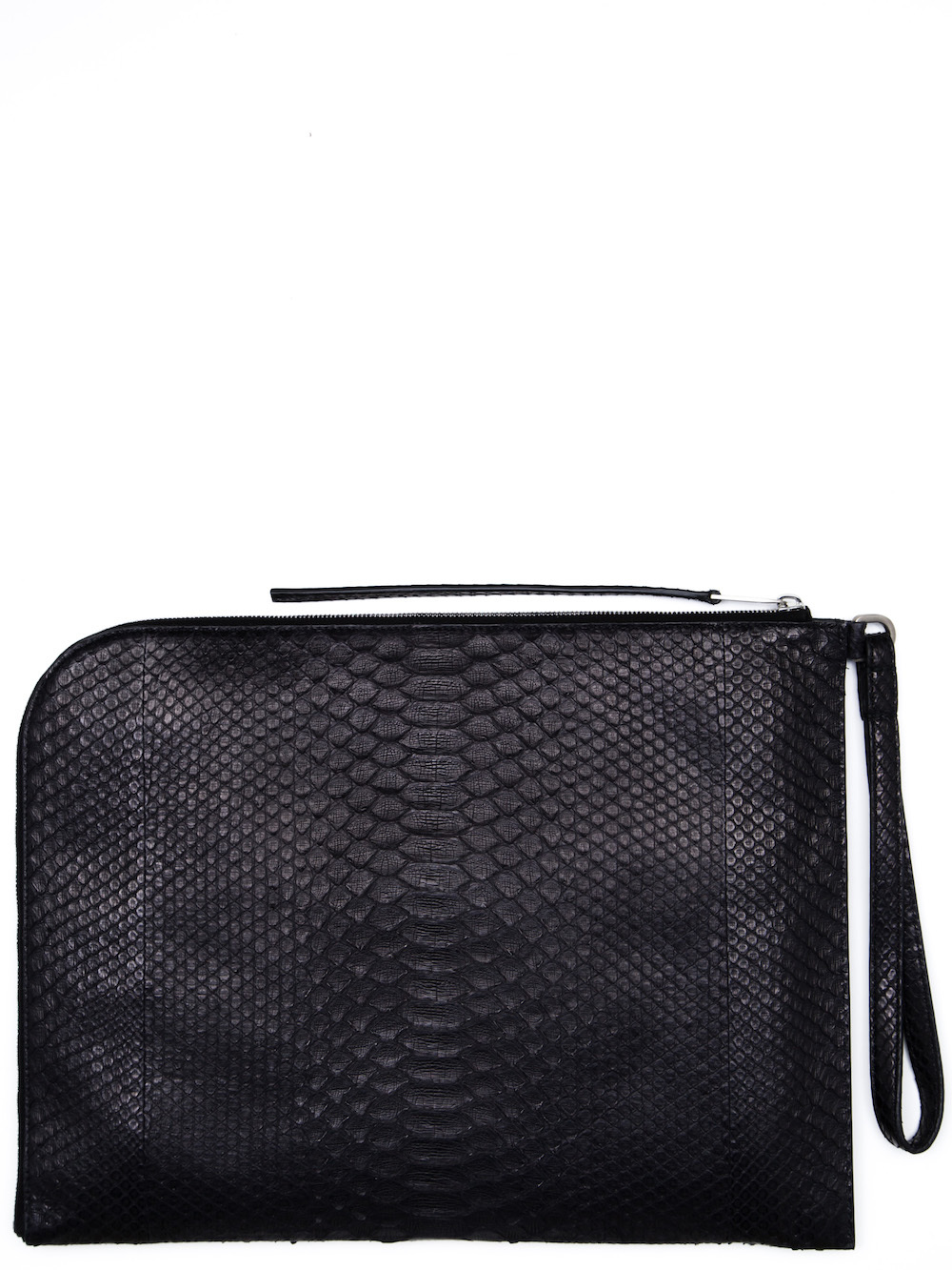 RICK OWENS LARGE ZIPPED POUCH IN BLACK PYTHON
