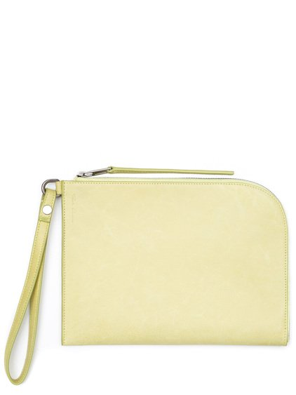RICK OWENS MEDIUM ZIPPED POUCH IN YELLOW CALF LEATHER