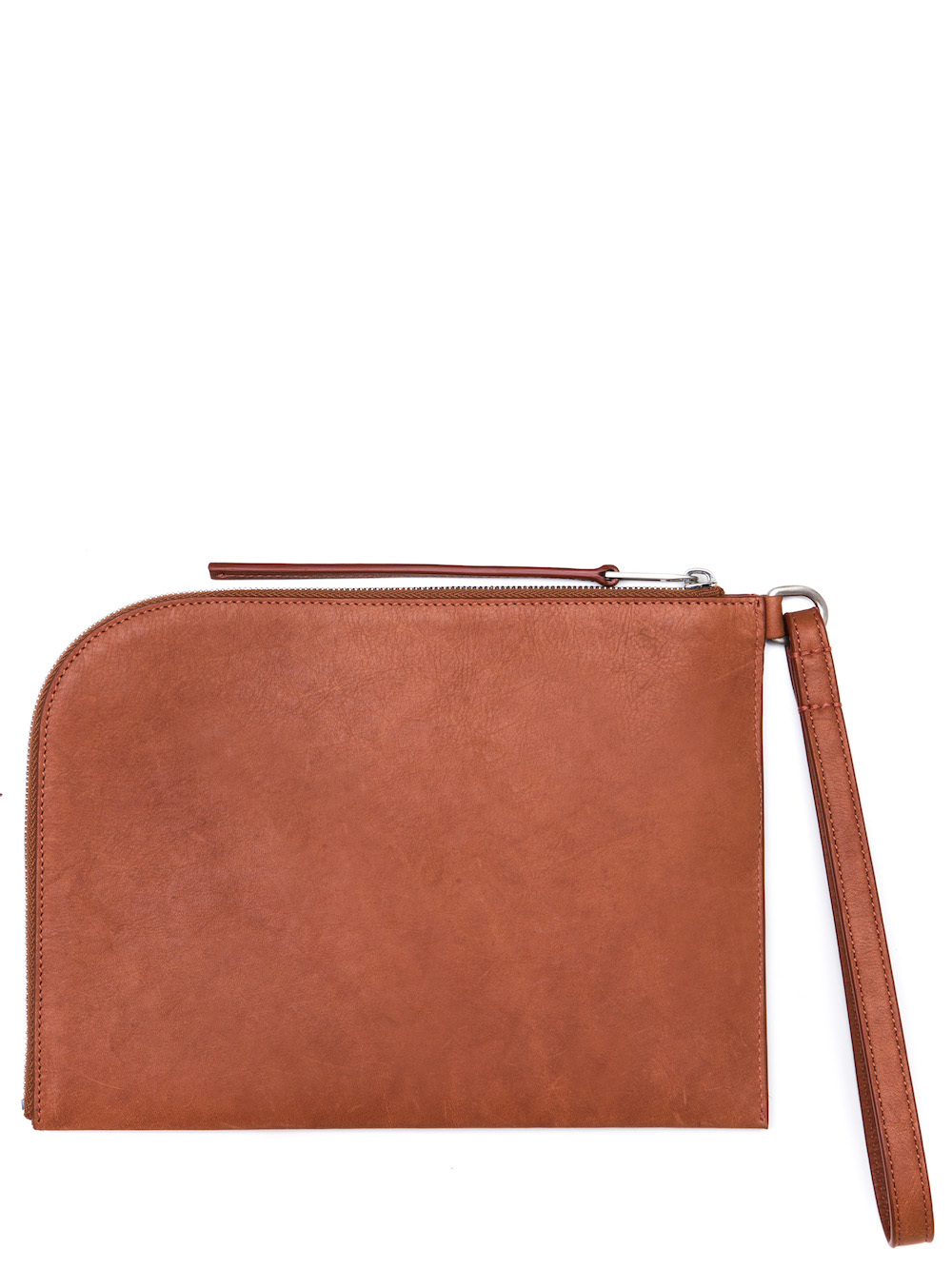 RICK OWENS MEDIUM ZIPPED POUCH IN CINNAMON