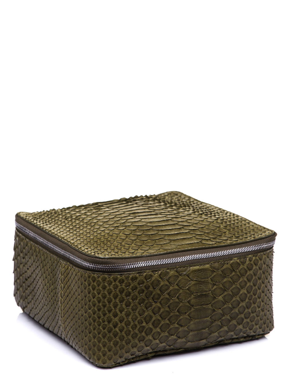 RICK OWENS BIG TOILETRY BEAUTY CASE IN DIRTY GREEN PYTHON