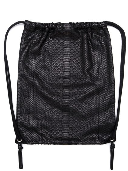 RICK OWENS DRAWSTRING BACKPACK IN BLACK PYTHON