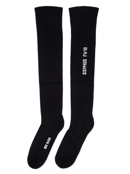 RICK OWENS FW18 SISYPHUS KNEE HIGH SOCKS IN BLACK