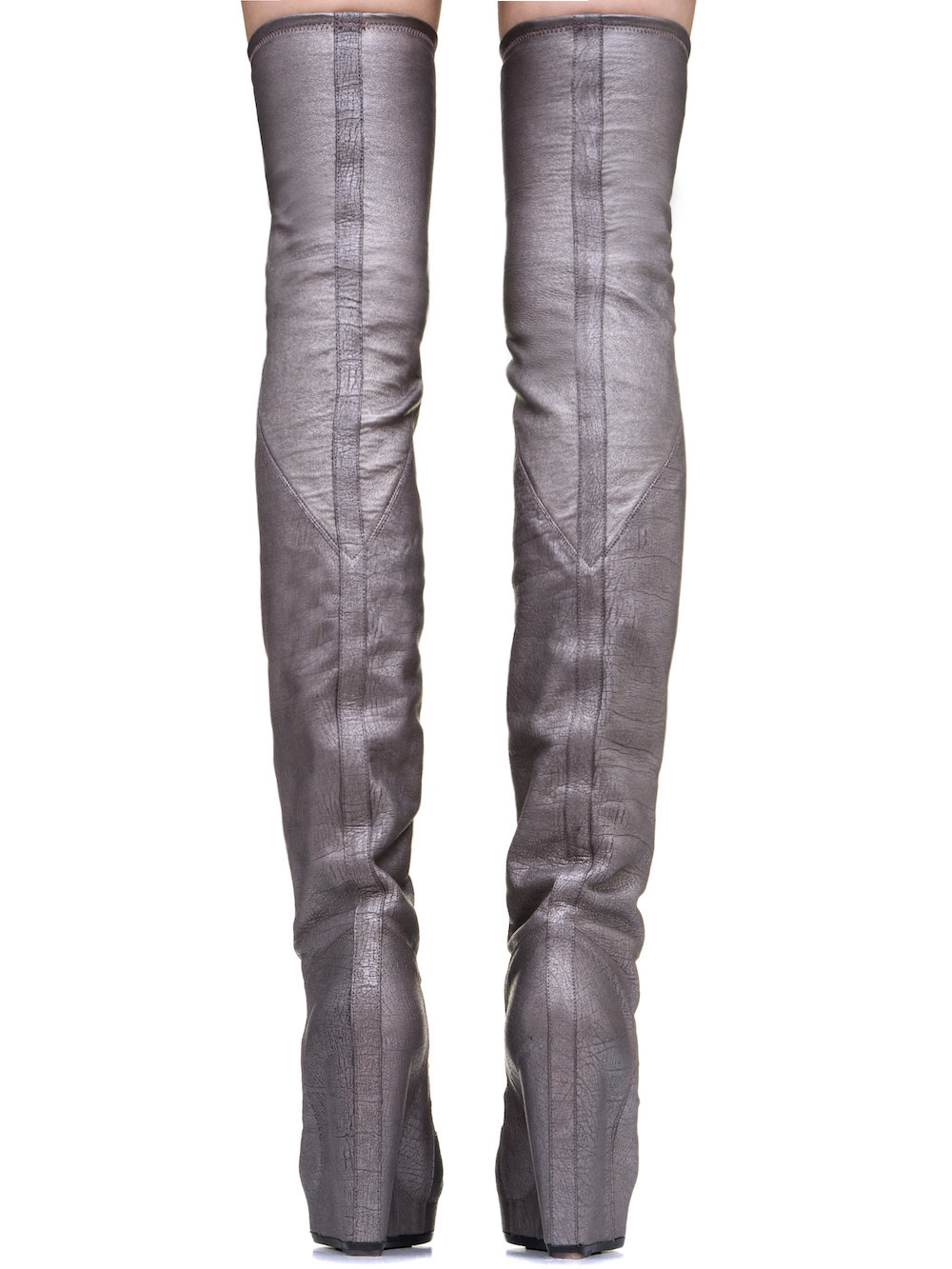 RICK OWENS RUHLMANN KNEE HIGH BOOTS IN SILVER