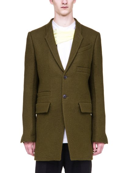 RICK OWENS DIRT BLAZER IN DIRTY GREEN BOILED WOOL