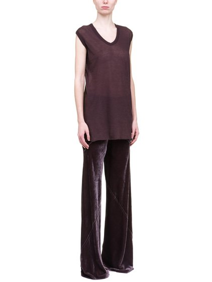 RICK OWENS V NECK SLEEVELESS TEE IN PURPLE