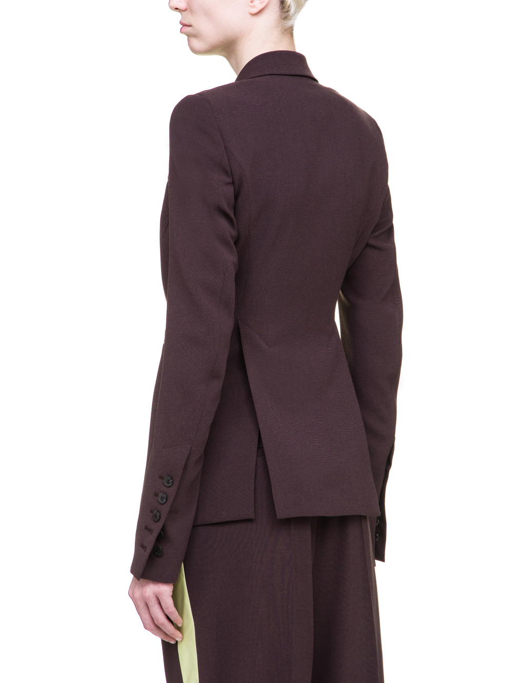 RICK OWENS SOFT SHORT BLAZER IN RAISIN PURPLE LIGHT CREPE WOOL