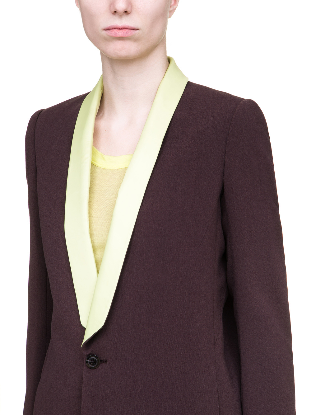 RICK OWENS TUSK BLAZER IN PURPLE CREPE WOOL FEATURES  A  YELLOW SHAWL LAPEL