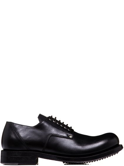 RICK OWENS COP SHOES IN BLACK CULATTA HORSE LEATHER