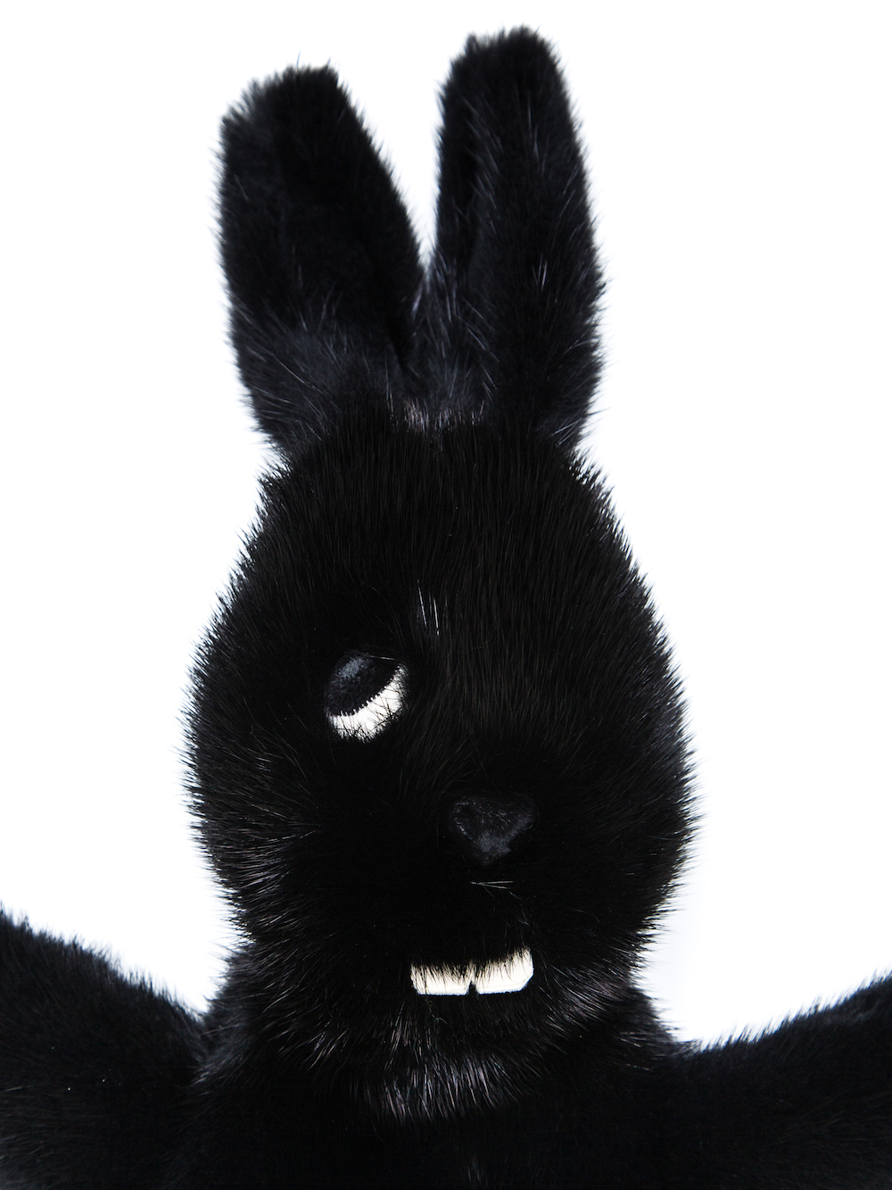 RICK OWENS HUN FAT BUNNY IN BLACK FEATURES A LONG HAIR MINK FUR BODY