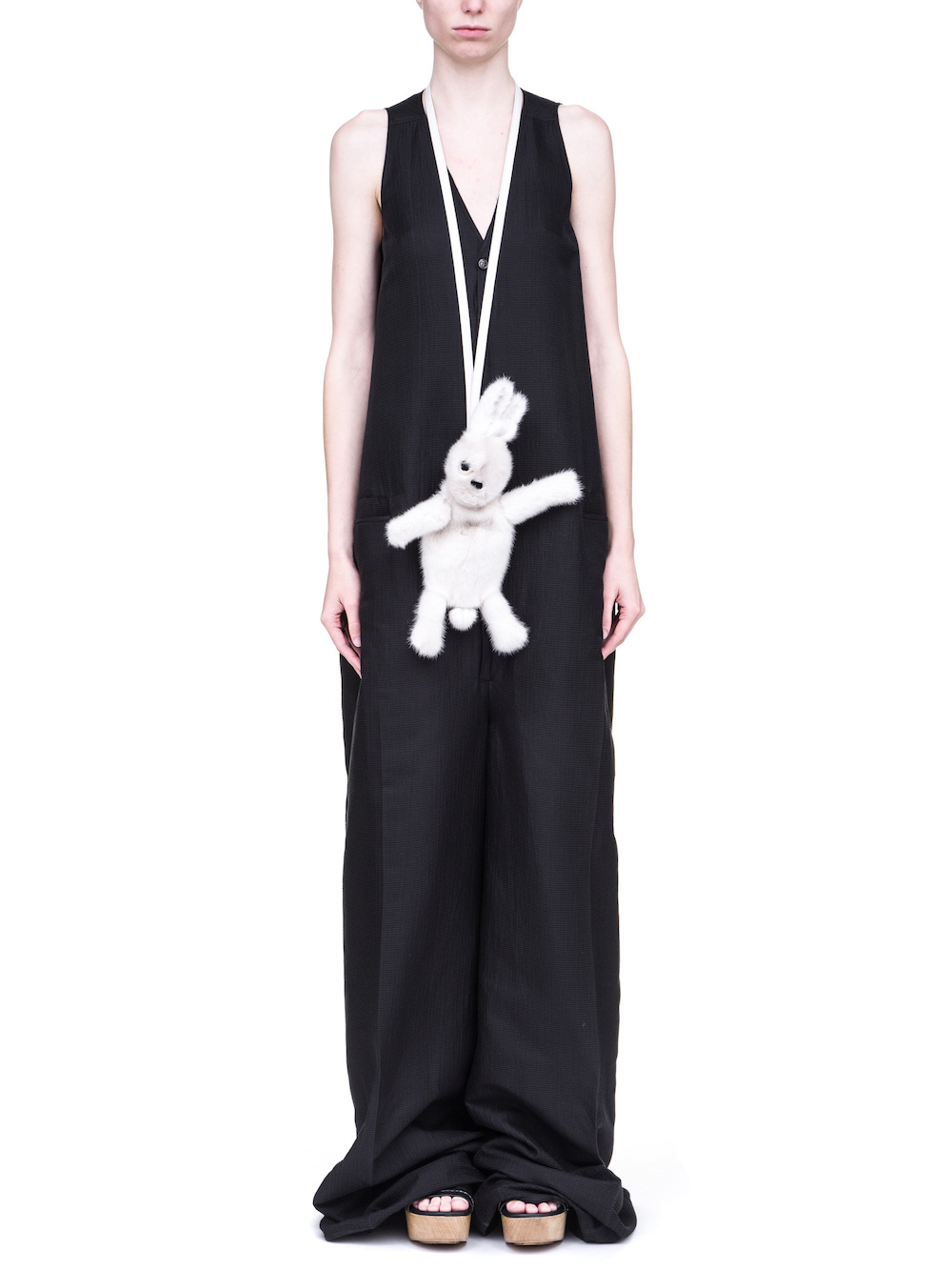 RICK OWENS HUN FAT BUNNY IN WHITE FEATURES A LONG HAIR MINK FUR BODY