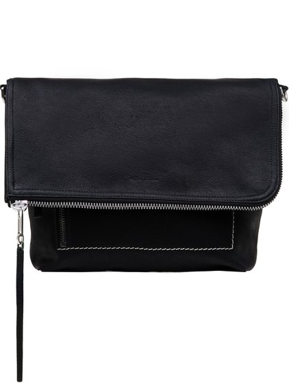 RICK OWENS SMALL MESSENGER BAG IN BLACK CAMEL LEATHER