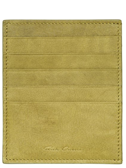 RICK OWENS CREDIT CARD HOLDER IN ACID YELLOW CALF LEATHER