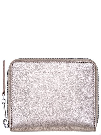 RICK OWENS SMALL ZIPPED WALLET IN ROSE SILVER METALLIC CALF LEATHER