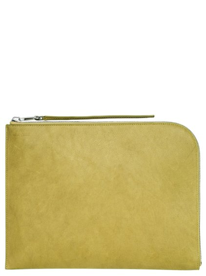 RICK OWENS LARGE ZIPPED POUCH IN ACID YELLOW CALF LEATHER