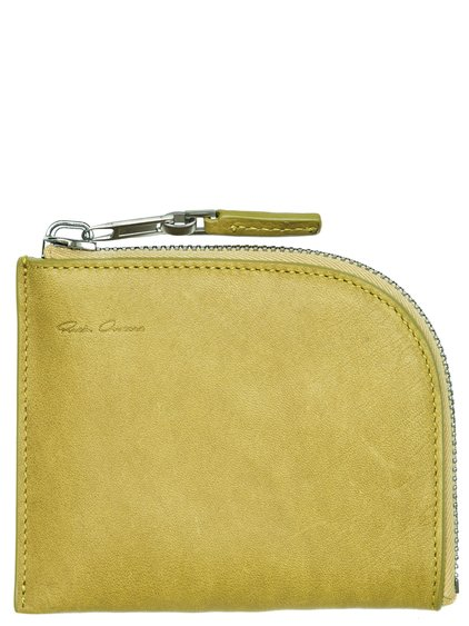 RICK OWENS SMALL ZIPPED POUCH IN ACID YELLOW CALF LEATHER