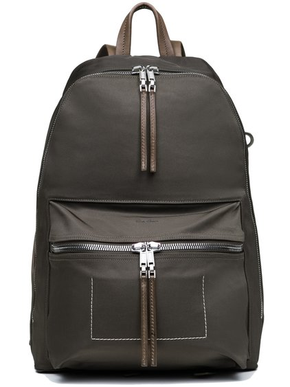 RICK OWENS BACKPACK IN DARKDUST GREY RUBBER TWILL