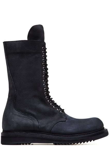 RICK OWENS LOW ARMY BOOTS IN BLACK CALF LEATHER