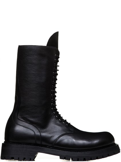 RICK OWENS FW18 SISYPHUS ARMY BOOTS IN BLACK CALF LEATHER