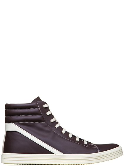 RICK OWENS GEOTHRASHER HIGH SNEAKERS IN RAISIN PURPLE