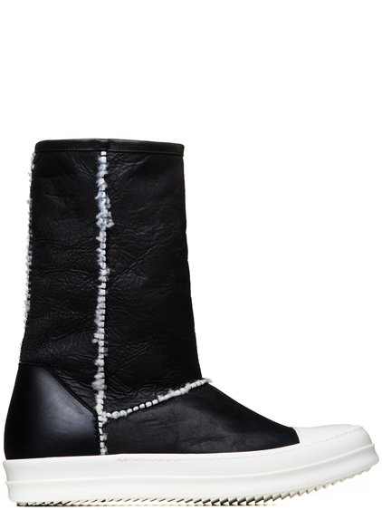 RICK OWENS SHEARLING ANKLE BOOTS IN BLACK SHEEP SHEARLING