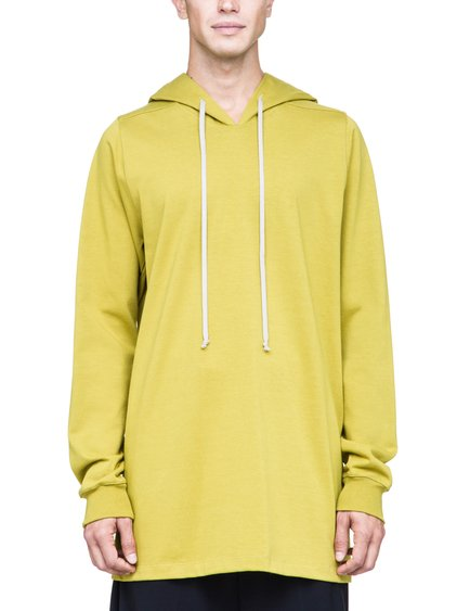 RICK OWENS HOODIE IN ACID YELLOW HEAVYWEIGHT COTTON
