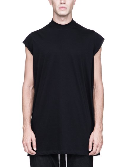 RICK OWENS SLEEVELESS LUPETTO IN BLACK