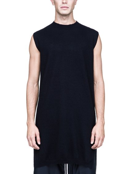 RICK OWENS SLEEVELESS MOODY TURTLE SWEATER IN BLACK BOILED CASHMERE
