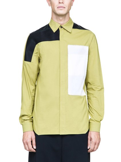 RICK OWENS COMBO WORKSHIRT IN ACID YELLOW COTTON