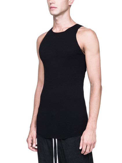 RICK OWENS RIBBED ROUND NECK SWEATER IN BLACK