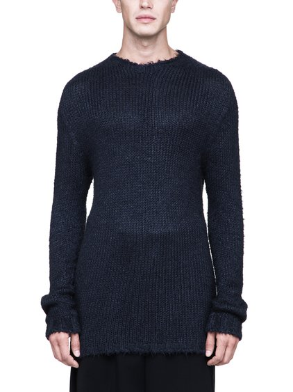 RICK OWENS OVERSIZED ROUND NECK SEAMLESS SWEATER IN BLACK