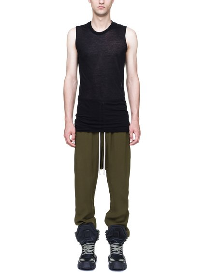 RICK OWENS BASIC SLEEVELESS TEE IN BLACK UNSTABLE COTTON JERSEY