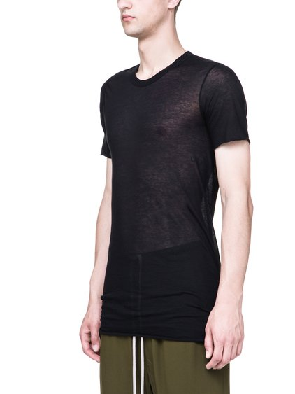RICK OWENS BASIC SHORT-SLEEVE TEE IN BLACK UNSTABLE COTTON