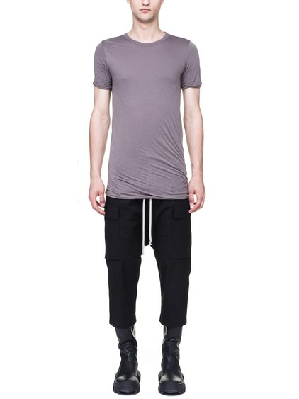 RICK OWENS DOUBLE SHORT-SLEEVE TEE IN DUST GREY UNSTABLE COTTON