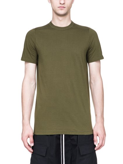 RICK OWENS LEVEL TEE IN DIRTY GREEN MEDIUMWEIGHT COTTON JERSEY