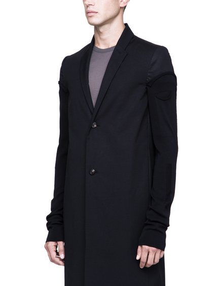 RICK OWENS GLITTER COAT IN BLACK HEAVYWEIGHT