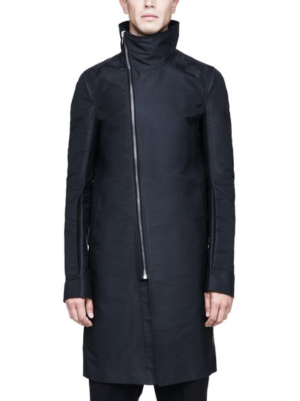 RICK OWENS TUBEWAY COAT IN BLACK TECH CANVAS