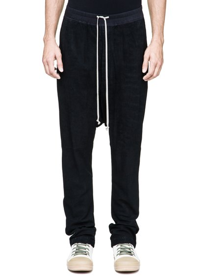 RICK OWENS DRAWSTRING LONG PANTS IN BLACK BLISTER LAMB LEATHER