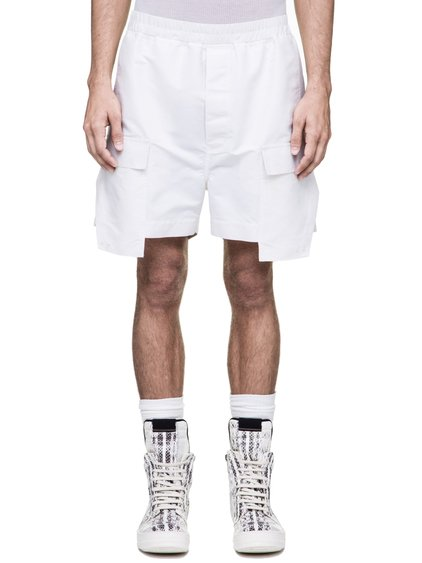 RICK OWENS DRAWSTRING CARGO BOXERS IN NATURAL TECH CANVAS