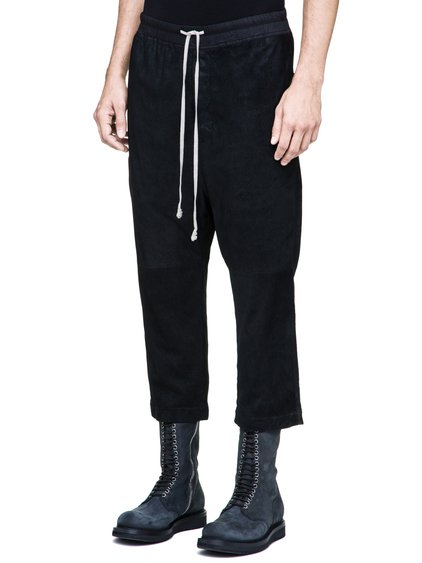 RICK OWENS DRAWSTRING ASTAIRES CROPPED TROUSERS IN BLACK BLISTER LAMB