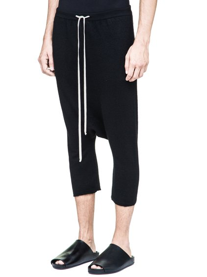 RICK OWENS DRAWSTRING SHORT PANTS IN BLACK BOILED CASHMERE